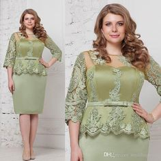 Fashion mint Plus Size Peplum Mother of The Groom Bride Dresses with Sleeves 2018 Jewel Lace Stain Knee-length Mother Occasion Formal Dress Satin Formal Dress, Formal Dresses With Sleeves, Sheer Dress, Lace Dress, Peplum Prom Dresses, Mermaid Prom Dresses Lace, Bride Dresses, Popular Wedding Dresses, Wedding Dresses Plus Size