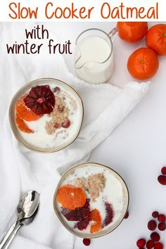 This vegan-friendly Slow Cooker Oatmeal with Winter Fruit uses heart-healthy steel-cut oats, cranberries, and oranges for a healthy and hearty breakfast. Healthy Crockpot Recipes, Healthy Dinner Recipes, Gourmet Recipes, Vegan Recipes, Breakfast Recipes, Sweets Recipes, Vegan Meals, Brunch Recipes, Diet Recipes
