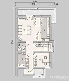 Projekty domów LK Projekt LK&326 rzuty Parter