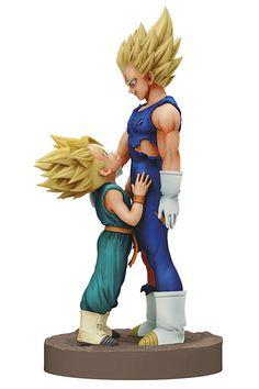 Estatua Majin Vegeta y Super Saiyan Trunks, Dragon Ball Z. 16 cm, Banpresto  Estatua de 16 cm, de los personajes de Majin Vegeta y Super Saiyan Trunks creada por Banpresto, perteneciente a la serie Dragon Ball Z.