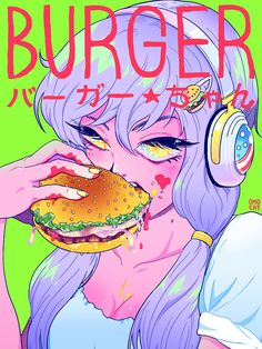 omocat:  on a hatsune miku, kagepro, and super sonico spree lately so i decided to draw a headphone lady of my own… b u r g e r ★ c h a n likes: burgers; hates: pickles — will draw a full-body illo soon :) i want to make a bunch of stuff with her on it… maybe a dakimakura……………