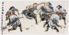 Cuju is a popular ball game in ancient China. Although there is no connection to today's football, Cuju is a similarly competitive game that involves kicking a ball through an opening into a net while the use of hands is forbidden.