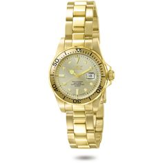 Invicta Pro Diver Champagne Dial 23kt Gold-tone Ladies Watch ($76) ❤ liked on Polyvore featuring jewelry, watches, invicta bracelet, gold tone jewelry, dial watches, invicta watches and bezel bracelet