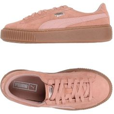 Puma Low-tops & Sneakers ($130) ❤ liked on Polyvore featuring shoes, sneakers, pastel pink, pink platform shoes, pastel pink sneakers, flat platform shoes, leather low top sneakers and puma shoes