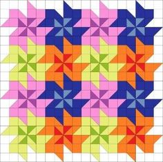 Tessellating flower quilt block pattern. by Bet Moore