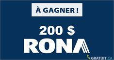 Encore une carte-cadeau de chez Rona à gagner. On dirait bien que les organisateurs de concours se sont passé le mot! Prize Draw, Free Stuff, Coin Toss, Free Samples, I Win, Spring