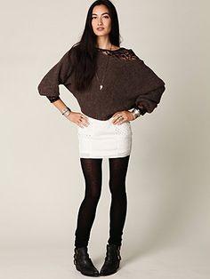 Looks comfy :) #slouchy #sweater #seethrough #undershirt #eyelet #skirt