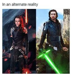 Dark side Rey and Light side Ben Solo. Star Wars: The Force Awakens