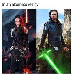 Dark side Rey and Light side Ben Solo. Star Wars: The Force Awakens