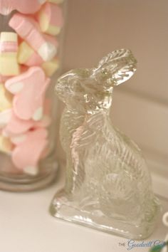 Vintage glass rabbit. #candy #Easter #Goodwill