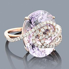 When the ice begins to thaw, it becomes the sea. Colors of the sea. Rose Gold Amethyst Diamond Ring 14K 1.10ct