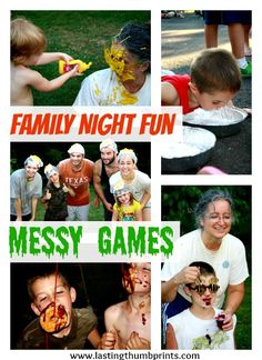 Loads of ideas to create memories with a family messy party. Getting dirty has never been so fun! I definitely need to plan some of these fun activities the summer! Dare Games, Fun Games, Games For Kids, Family Reunion Games, Family Games, Family Activities, Family Family, Bonding Activities, Family Bonding