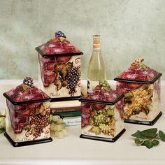 Wine Cellar Canister Set Wine Decor For Kitchenkitchen