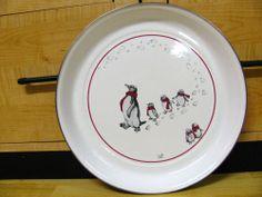 Golden Rabbit enamelware serving tray penquin winter metal plate Hen Feathers