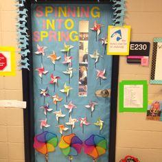 Spring classroom door decor