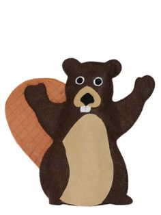 BEAVER HAND PUPPET:    The Beaver hand puppet is hand made of high quality felt. This Canadian icon has a thick melded tail and cute buck teeth. All added features are glued on with a non-toxic tacky glue. The markings are made with permanent marker