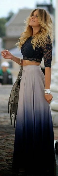 Little Lace Blouse With Long Skirt Cool Outfit...love the ombre skirt, blouse could b a lil longer though - printed blouse, white sleeveless blouse with collar, romantic blouses *sponsored https://www.pinterest.com/blouses_blouse/ https://www.pinterest.com/explore/blouse/ https://www.pinterest.com/blouses_blouse/blouse-designs/ http://www.ebay.com/sch/Womens-Tops-Blouses/53159/bn_661824/i.html