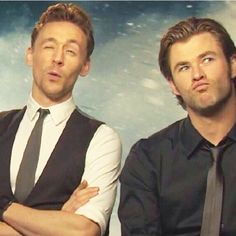 Tom Hiddleston & Chris Hemsworth (Loki & Thor) Also known as my friends and I taking a picture.