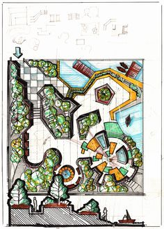 Freehand Architecture - Architectural Drawing and Design Landscape Architecture, Landscape Design, Urban Design, Sketch, Symbols, Letters, Concept, Graphic Design, Park