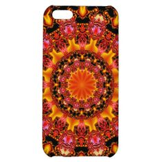Glittering Gold, Abstract Amber Red Jewels iPhone 5C Cases