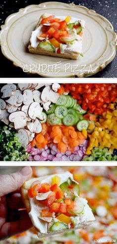 Crudite Pizza - A crowd-pleasing appetizer that's super easy to make. A party favorite with my fam! | SoupAddict.com