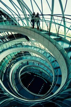 The helical staircase inside London's City Hall on the Southbank of the River Thames.