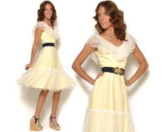 70s Pastel Yellow Dress Sheer Polka Dot by GravelGhostVintage, $52.00... Not sure if Im a big fan of the belt though