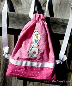 Disney Frozen Olaf Inspired Drawstring Backpack Purse by AvaBabyCo, $30.00