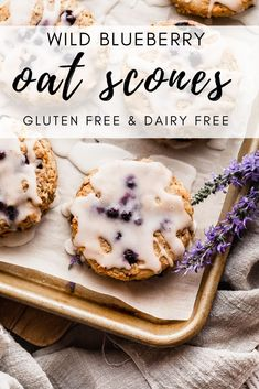 Soft and tender blueberry scones topped with sweet glaze and made gluten free and dairy free. A perfect morning treat. Best Gluten Free Desserts, Homemade Desserts, Dessert Recipes, Pie Recipes, Brunch Recipes, Breakfast Recipes, Dinner Recipes, Gluten Free Blueberry, Blueberry Recipes