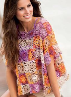 Crochet Granny Square Tunic Pattern : 1000+ images about Crochet tops, dresses on Pinterest ...