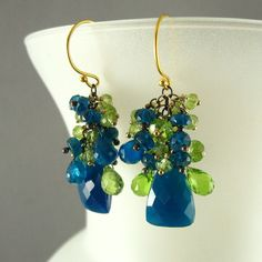 Green and Blue Gemstone Earrings - Teal Chalcedony, Peridot and Apatite. $69.00, via Etsy.