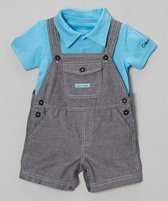 Another great find on #zulily! Gray Overalls & Blue Polo by Calvin Klein Underwear #zulilyfinds