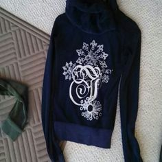 FLASH SALE! NEW Juicy couture track jacket! NWOT navy blue track jacket by juicy couture. Back design is great during the holidays or winter time with a sparkling snowflake design! Size small only worn once. Bundle and save or make an offer! $30 p.p shipped Juicy Couture Jackets & Coats