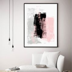 Love love love this super feminine contemporary abstract painting. Save STOREWIDE now! Living Room Paint, Living Room Grey, Living Room Decor, Grey Room, Interior Design Inspiration, Room Inspiration, Black And Grey Bedroom, Black Painted Walls, Grey Abstract Art