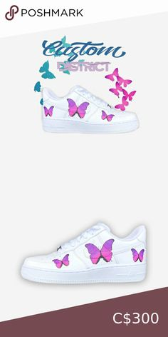 Nike Air Force Butterfly Limited supplie Nike Air Force 1 Custom 'Available in all sizes for Men and Women.  For Womens sizes subtract 1.5 from your current size and select it, for example:  Women size 7 = 5.5 US Men Women size 8 = 6.5 US Men Women size 9 = 7.5 US Men Women size 10 = 8.5 US Men   All of our designs are handmade and made to order, we manage our orders professionally and use original high quality sneakers. Nike Shoes Sneakers Nike Shoes, Shoes Sneakers, Us Man, Nike Air Force, Nike Women, Size 10, Butterfly, Handmade, Closet