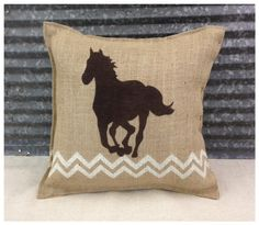 Burlap Pillow with a Running Horse & Chevron  - Cabin decor Home decor Western decor by CreativePlaces on Etsy