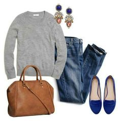 Cute for a casual Friday Outfits With Blue Shoes, Blue Shoes Outfit, Grey Sweater Outfit, Flats Outfit, Comfy Sweater, Jean Outfits, Black Shoes, Weekend Outfit, Weekend Wear
