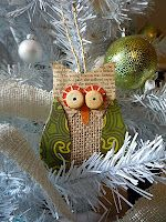Burlap Owl with pattern