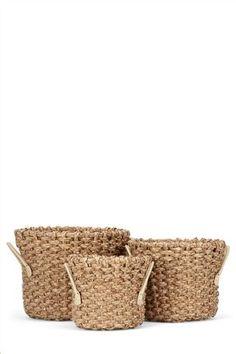 Set Of 3 Rush Weave Log Baskets