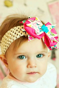 baby hair bow...boutique ribbon hairbow Clip ...infant headband...Easter/Spring baby bow .. newborn, toddler and little girls head band