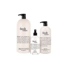philosophy 3-piece super-size cream favorites bath & body set ($95) ❤ liked on Polyvore featuring beauty products, bath & body products and body cleansers