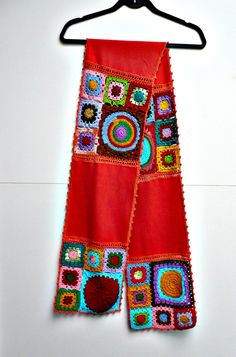 Items similar to Crochet Infinity Scarf, granny squares,Chunky Knit Scarf Handmade Snood Knit , Crocheted Flowers on Polar Fleece Cloth Christmas Gift on Etsy Chunky Knit Scarves, Crochet Scarves, Crochet Shawl, Knitting Patterns, Crochet Patterns, Knitting Ideas, Beginner Crochet Tutorial, Mode Crochet, Crochet Mandala Pattern