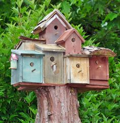 Glue all of them together...birdhouses