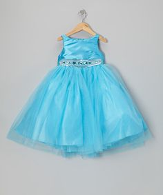 Take a look at this Turquoise Jewel & Tulle Dress - Infant, Toddler & Girls by Sophia Young on #zulily today!