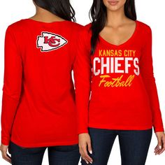 Women's Kansas City Chiefs Nike Gray Logo Mid V-Neck Performance T-Shirt