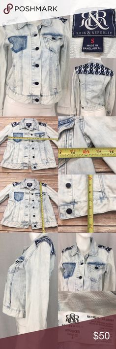 🍭Small Rock Republic Hitchhiker Light Jean Jacket Measurements are in photos. NEVER WORN, no flaws. A3/25  I do not comment to my buyers after purchases, do to their privacy. If you would like any reassurance after your purchase that I did receive your order, please feel free to comment on the listing and I will promptly respond. I ship everyday and I always package safely. Thanks! Rock & Republic Jackets & Coats Jean Jackets