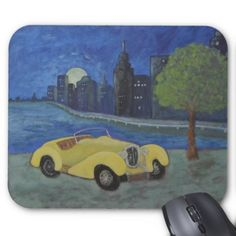 Vintage Car Painting In City Mouse Pad