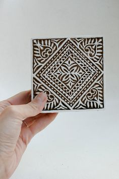 Hand carved wood textile india block stamp by TATAindianwoodstamps