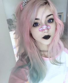 """roseyume: """"I love bandaids bye """" Gothic Hairstyles, Fancy Hairstyles, Short Hairstyles For Women, Pastel Goth Makeup, Pastel Goth Fashion, Hair Inspo, Hair Inspiration, Emo, African American Women Hairstyles"""