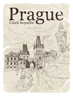 Česká republika Praha retro vektor Prague Czech Republic, Retro Vector, Retro Font, Sketch Inspiration, Budapest, Other Countries, Coloring Books, Sketches, World